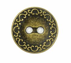 Retro Brass Scrollwork Edge Metal Hole Buttons - 20mm - 3/4 inch