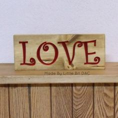 LOVE Routered Sign 3.5 x 9 Solid Pine Wood Ready by LittleBitDAC