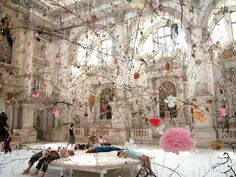 In love with this installation called Falling Garden by Swiss artist Gerda Steiner and Jörg Lenzlinger. It was created back in 2003 for the 5oth Venice Biennial.
