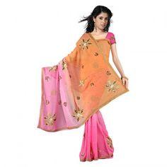 Designer Pink Pure Georgette Silk Saree Blouse 402