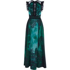 Elie Saab     Sleeveless Ruffled Jacquard Dress ($5,825) ❤ liked on Polyvore featuring dresses, elie saab, gown, green, ruffle dress, blue neck tie, cutout dresses, flutter-sleeve dress and neck-tie