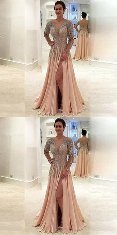 V Neck Long Sleeves Split Side Prom Dresses P1540 #promdresses #longpromdress #2018promdresses #fashionpromdresses #charmingpromdresses #2018newstyles #fashions #styles #hiprom #slitprom #splitprom