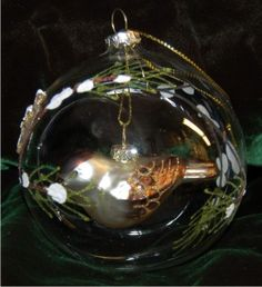 Forest Finch Inside Glass Dome for Grandparents Christmas Ornament