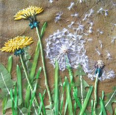 Dandelions - silk floss and variety of threads ribbon and embellishments