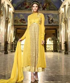 Buy Yellow Faux Georgette Indo Western Anarkali Suit 75919 online at lowest…