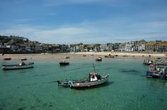 St Ives Harbour. Crystal water, blue sky, sandy beach...