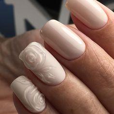 "Nude nail art from MADINA_NAILS (@madina_nails) on Instagram: ""#madina_nails #безмасла #безфильтров #объемныерозы #маникюрфотошопом  #комбинированныйманикюр…"""