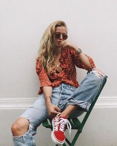 pretty blouses & cool sneakers