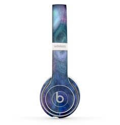 The Vivid Blue Sagging Painted Surface Skin Set for the Beats by Dre Solo 2 Wireless Headphones