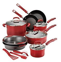This bold and contemporary Rachael Ray Hard Enamel Cookware Set comes with a convenient assortment of must-have kitchen tools that Rachael's . Rachael Ray Cookware Set, Enamel Cookware, Must Have Kitchen Gadgets, Pots And Pans Sets, Red Kitchen, Kitchen Tools, Kitchen Supplies, Kitchen Stuff, Rachel Ray