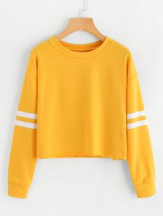 Varsity-Striped Sleeve Sweatshirt
