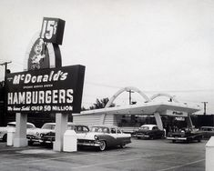A 1957 McDonald's drive-in and its neon sign though not the Roseville McDonald's. The original Snelling Avenue McDonald's had its sign in the front of the restaurant, not to the side. Photo courtesy of the McDonald's Corporation. Drive In, Food Drive, Mcdonald's Restaurant, Vintage Restaurant, Classic Restaurant, Barbecue Restaurant, Vintage Ads, Vintage Photos, 1950s