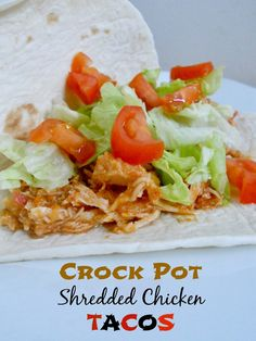 Crock Pot Shredded Chicken Tacos...this meals that shows up on our dinner table AT LEAST once a month!
