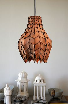 Pod Luxe pendant light woven from 100% Australian vegetable-tanned leather for whodidthat.com.au