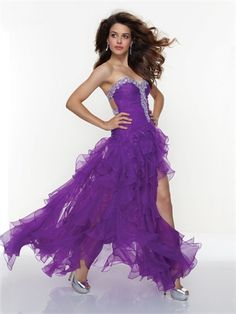 2013 Ruffled Organza With Beading Prom Dress PD1432