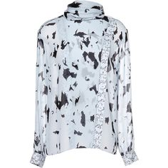 Proenza Schouler Printed Crepe Chiffon Long Sleeve Top (22 405 UAH) ❤ liked on Polyvore featuring tops, blouses, blue chiffon blouse, blue blouse, blue long sleeve blouse, long sleeve tops and crepe blouse