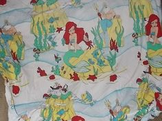 Vintage Little Mermaid Flannel Fitted Sheet by Daysgonebytreasures