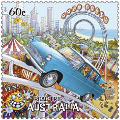 postage stamp from Australia - part of a series featuring an Australian road-trip - this one is of the Gold Coast Postage Stamp Art, Alice Springs, Aboriginal Art, Mail Art, Stamp Collecting, Illustration, Road Trip, History, Gold Coast