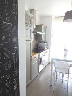 l unique papier peint pense b te de cuisine tableau noir j 39 adore j 39 ach te i decorate. Black Bedroom Furniture Sets. Home Design Ideas