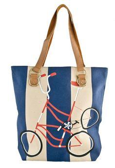 Stripe #Bicycle Canvas Bag