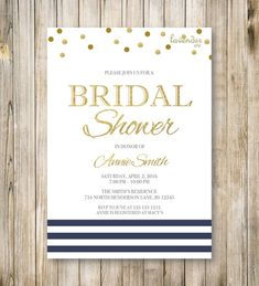 NAVY & GOLD Bridal Shower Invitation Nautical by LavenderArte