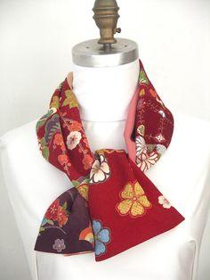 Amazing Japanese vintage kimono versatile silk scarf  by Wabiske, $50.00