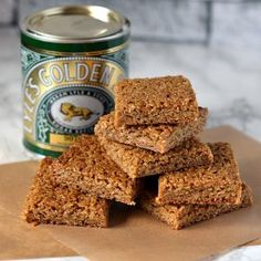 The perfect chewy flapjack, made with Scottish oats and golden syrup. A favourite oat treat here in Scotland. Gourmet Recipes, Baking Recipes, Cake Recipes, Dessert Recipes, Desserts, Vegetarian Recipes, Belgian Bun, Golden Syrup Cake, Hot And Sour Soup