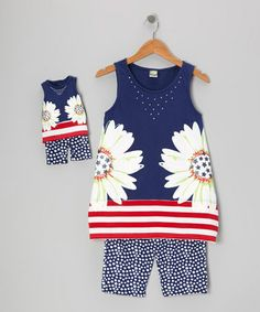 Take a look at this Navy Daisy Tunic Set & Doll Outfit - Girls by Dollie & Me on #zulily today!