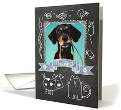 "Thanks Pet Sitter - #blackboard (chalkboard) art card to say ""thank you"" to your #petsitter. Personalize with your photo!"