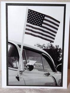 Photo Card vintage car American Flag Black and by RoadAheadPhotos on Etsy