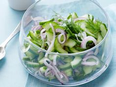 Cucumber Salad Recipe : Ellie Krieger : Food Network - Ellie's salad is simple and light. A dressing of white wine vinegar, sugar and dill is all you need to top your cucumbers. Food Network Recipes, Cooking Recipes, Healthy Recipes, What's Cooking, Healthy Food, Healthy Eating, Cooking Light, Grilling Recipes, Veggie Recipes
