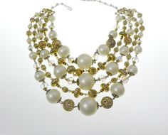 Designer Pearl Crystal Necklace Earrings Set by EclecticVintager