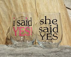 I Said YES and She Said Yes Stemless Wine Glasses. Engagement or Wedding Gift/Bride and Groom