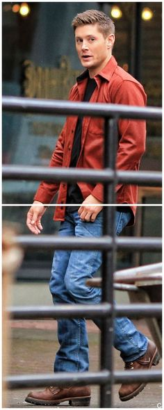 Love him in red and those jeans.... Jensen BTS Feb 2, 2015