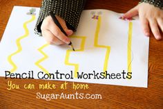 Sugar Aunts: Pencil Control Worksheets (You can make at home) Draw using highlighters - mark with green and red - good for developing left to right Preschool Names, Preschool Writing, Preschool At Home, Preschool Learning, Learning Activities, Teaching, Baby Activites, Eyfs Activities, Pre Writing