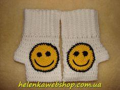 """Митенки """"Смайлики"""" - Helenka Web Shop - Интернет магазин эксклюзивной вязаной одежды ручной работы. Продажа готовых вязаных изделий, а также вязание под заказ крючком и спицами."""