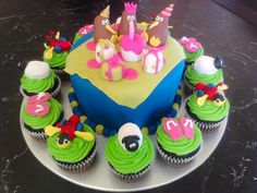 Kiwiana Birthday Cake with Buzzy Bee, Jandal's and Sheep Cupcakes Sheep Cupcakes, Buzzy Bee, Kiwiana, Sprinkles, Birthday Cake, Party, Nature, Desserts, Food