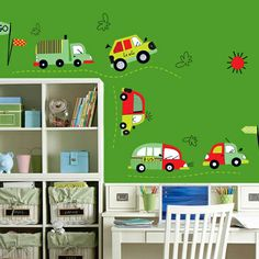 Cartoon Cars on The Road Wall Decal Sticker