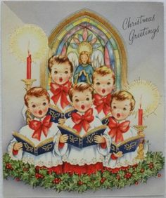 #1280 50s Choir Boys- Vintage Christmas Greeting Card