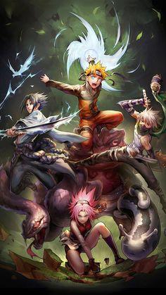 Naruto ~ Team 7 -- Naruto Uzuamki, Sasuke Uchiha, Kakashi Hatake, and Sakura Haruno Naruto Team 7, Naruto Shippuden Sasuke, Naruto Kakashi, Anime Naruto, Naruto Fan Art, Manga Anime, Naruto Sasuke Sakura, Gaara, Sakura Haruno