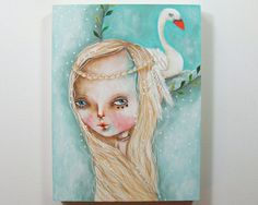 folk art Original swan and girl painting whimsical mixed media art painting on wood canvas 8x6 inches - Swan song