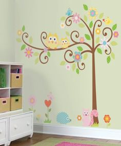 Vogel, reminds me of your bedding.Owls Scroll Tree Wall Decals for Kids Rooms - Owl-themed Nursery - Owl Nursery Decor - Large Adhesive Owl Tree Wall Decals for Nursery, Kid's Room or a Playroom Owl Nursery Decor, Nursery Themes, Nursery Room, Bedroom Wall, Girl Nursery, Girls Bedroom, Themed Nursery, Child's Room, Bedroom Decor