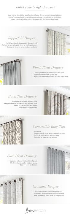 classic or modern, streamlined or glam, your curtains should be a reflection of your home. Use Loom Decor's drapery guide to find the window treatment style to enhance your home's design. Drapery Styles, Curtain Styles, Curtain Designs, Drapery Ideas, Curtain Ideas, Home Curtains, Modern Curtains, Curtains With Blinds, Classic Curtains