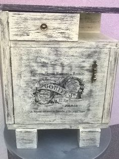Old night stand in shabby chic style with transfer and stencil