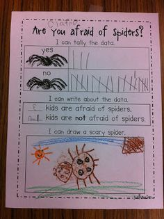 "We completed our first pie graph . . . ""Are you afraid of spiders?"" Surprisingly more kids are not afraid of spiders. Today I borrowed a pet..."