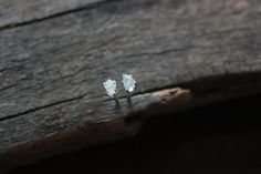 Spring teeny tiny raw aquamarine stud earrings-blue raw crystal stud earring-sterling silver posts-rough gemstone stud earring-CIJ