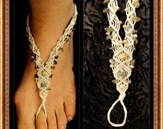 Single BAREFOOT sandal Macrame GEM stones beads macrame sandal beaded sandal foot jewelry beach wedding bohemian gypsy shoes macrame anklets