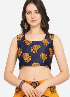 We are to breathe life into your aspirations and to make a mark in the world of style. You are sure to make a strong fashion statement with this blue jacquard lehenga choli. This attire is encrafted with weaving work. Comes with matching choli and dupatta. (Slight variation in color, fabric & work is possible. Model images are only representative.)
