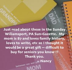 Thanks Nancy. Gifts For New Parents, Relationship Problems, Family History, Things To Think About, Meant To Be, Personalized Gifts, Great Gifts, Thankful, Letters