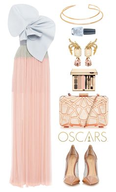 """Delpozo"" by thestyleartisan ❤ liked on Polyvore featuring Delpozo, Oscar de la Renta, Gianvito Rossi, BERRICLE, OPI, RedCarpet, Oscars and oscarfashion"